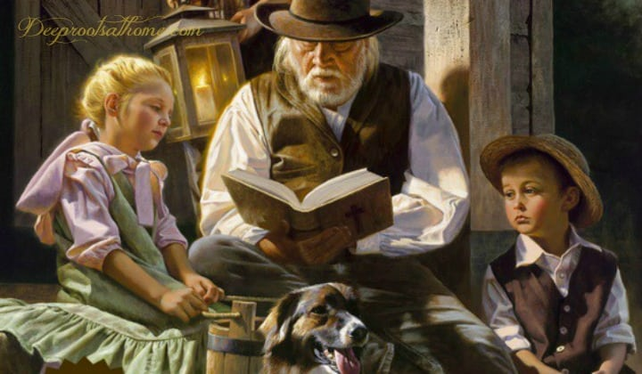 25 Beloved, Time-Tested Read Alouds For Young Children, Alfredo Rodriguez, father reading to his children, man reading, children listening, boys wearing hats, pioneer family, grandfather, boy holding lantern, reading the bible, on the porch, by candlelight, collie dog, painting, lantern light, Sharing the Light, artist, peaceful time, teaching his children, boys, girl, cabin, dusk, beloved books, wholesome reading, readers, The Story About Ping, The Velveteen Rabbit, Old Mother West Wind, Thornton Burgess, classics, beloved, time-tested books,