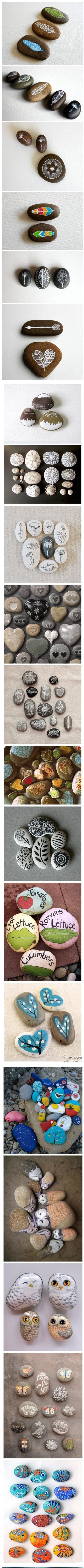 Painted Stones Paper Weights & Other Such Creations, mod podge, recipe, glue, art markers, herb markers, rocks, stones, pebbles, paper weights, creative art, stone fish, stone pets, stone family, rock art. decorative rocks,