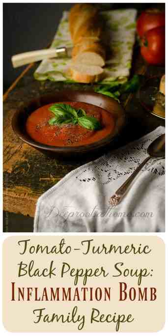 "Inflammation & Cancer Fighter: Tomato-Turmeric Pepper Soup, inflammation-fighting, diet, soup base, colorful, delicious meal, curcumin, turmeric, tomatoes, studies, health benefits, Lipitor, steroids, Metformin, Prozac, Imipramine, Oxaliplatin (a chemotherapy drug), Tylenol, Ibuprofen, Aspirin, Naproxen, Celecoxib, Tamoxifen, Science journal, geno-protective properties, DNA, genetic damage, cystic fibrosis, lung disorder, repairing DNA damage, cancer fighter, antioxidant activity, the bomb, digestive health, Crohn's disease, ulcerative colitis, inflammatory bowel disease, highly-pigmented, spice, wellness plan, acute inflammation, lycopene, prostate, lung, stomach cancer, cancers of the pancreas, colon and rectum, esophagus, oral cavity, breast, cervical cancer, cardiovascular disease, reduce LDL (""bad"") cholesterol, lower blood pressure, cooked tomatoes, fat, ingredients, directions, recipe, bone broth, herb, ground black pepper, caramelized onions, saute, stick blender, increase absorption, golden paste,"