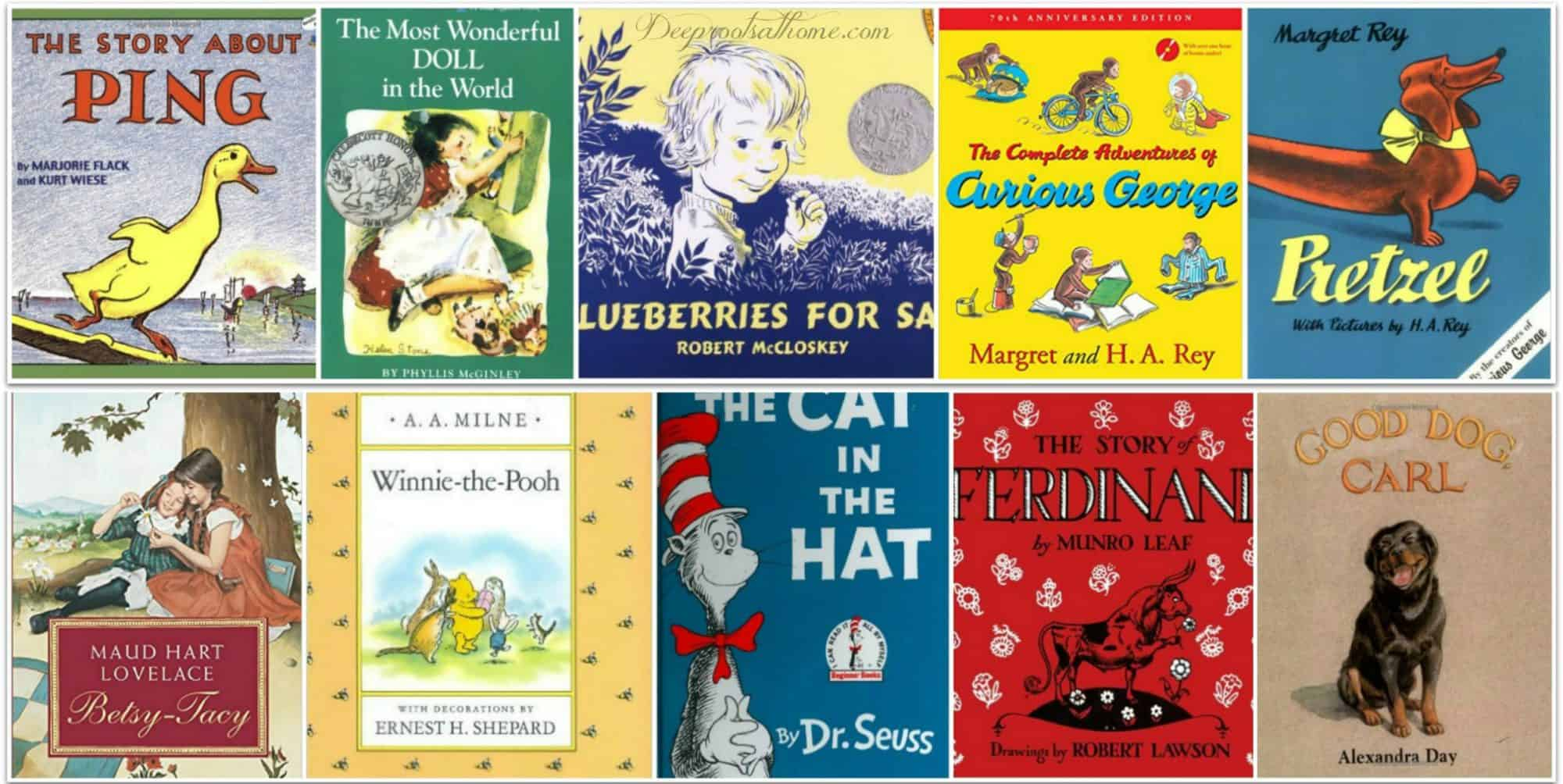 Early Reading Library: 75 Of The Best Little Children's Books Of All Time, reading aloud,thinking patterns, academic ability, communication skills, glue, bonding with parent, spending time, quality time, walk side by side, adventure, snuggling up, reading on the couch, teaching how to read, literacy, love to read, books, children's books, classic literature, children's lit, education, nurture, young kids, authors, favorite books,The Story about Ping,Marjorie Flack,The Most Wonderful Doll in the World, Phyllis McGinley,Blueberries for Sal, Robert McCloskey, Curious George,H. A. Rey,Pretzel,Margret Rey,Make Way for Ducklings,Betsy-Tacy,Winnie-the-Pooh,A. A. Milne,The Cat in the Hat, Dr. Seuss,The Story of Ferdinand,Munro Leaf,Good Dog, Carl,Alexandra Day,The Mouse and the Motorcycle,Beverly Cleary,Little Bear, Elsa Holmelund Minarik,Owl Moon,Jane Yolen,Frog and Toad Storybook ,Arnold Lobel,PaddingtonBear,Harold and the Purple Crayon,Corduroy,Don Freeman,Owl at Home,My Father's Dragon,James and the Giant Peach, Roald Dahl,Autumn Story (Brambly Hedge),Little House in the Big Woods,Laura Ingalls Wilder,The Mitten,The Hat, Jan Brett,The Snowy Day,Peter's Chair,Ezra Jack Keats,Goodnight Moon,Margaret Wise Brown,Pippi Longstocking,Astrid Lindgren,Mrs. Piggle-Wiggle,Town Mouse, Country Mouse,Miss Rumphius,Barbara Cooney,Amelia Bedelia,Peggy Parish,Plain Princess,out of print, book search, C.S. Lewis quote,Animal Stories,Thornton W. Burgess,The Poky Little Puppy, Little Golden Book,Janette Lowrey,The Very Hungry Caterpillar,Mr. Frumble's Coffee Shop Disaster,Richard Scarry,Tikki Tikki Tembo,Arlene Mosel,Mr. Brown Can Moo, Can You?,Dr. Seuss,Guess How Much I Love You, Board Book,Chicka Chicka Boom Boom, board book,Mike Mulligan and His Steam Shovel,Virginia Lee Burton,Lentil