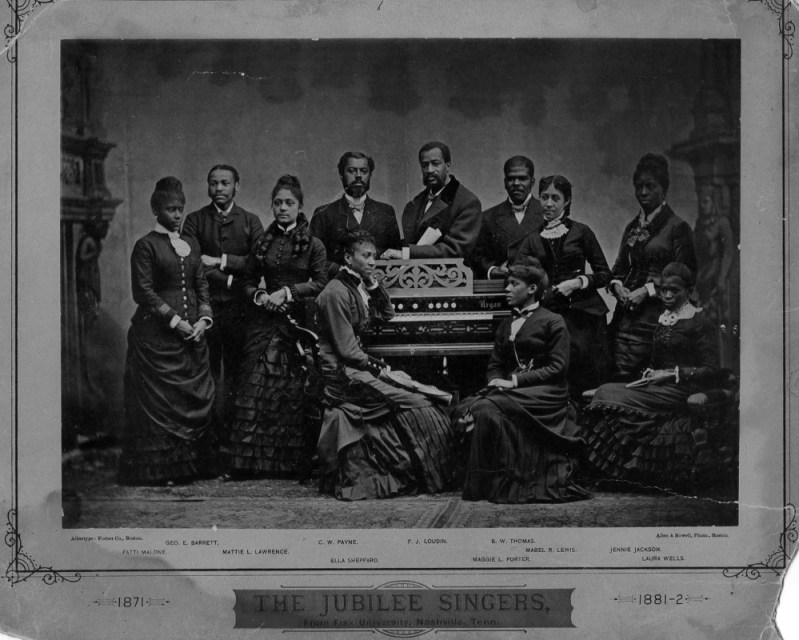 The Jubilee Singers: (from left) Patti Malone, George E. Barrett, Mattie L. Lawrence, C.W. Payne, Ella Shepard (pianist, seated), F.J. Loudin, Maggie L. Porter (seated), B.W. Thomas, Mabel R. Lewis. 'They were on a noble mission. They sang to build up education in the blighted land in which they themselves and millions more had so long drearily plodded in ignorance; and it was a most striking and yet pleasing exhibition of poetic justice, when many of those who really, in a certain sense, had been parties to their enslavement, were forced to pay tribute to the signs of genius found in this native music, and to contribute money for the cause represented by these delightful musicians.'
