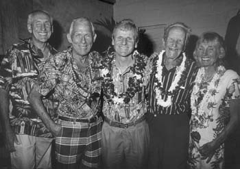 Some of the veteran surfers featured in Surfing for Life: (from left) Peter Cole, John Kelly, Fred Van Dyke, Woody Brown and Eve Fleter. (Photograph: David L. Brown Productions)