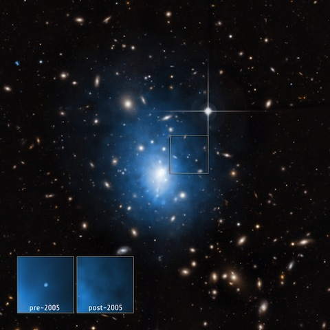 A dwarf galaxy is located in the galaxy cluster Abell 1795
