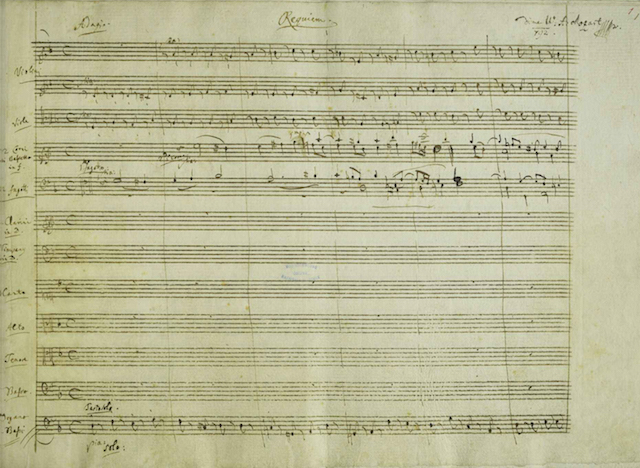 A section of a page from the manuscript of W.A. Mozart's Requiem, K 626 (1791), showing Mozart's heading for the first movement. He believed he was writing it for his own funeral.