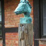 Pferdekopf Gusseisen Pferd Deko Pferdebuste Sockel Rost Eisen Garten Skulptur