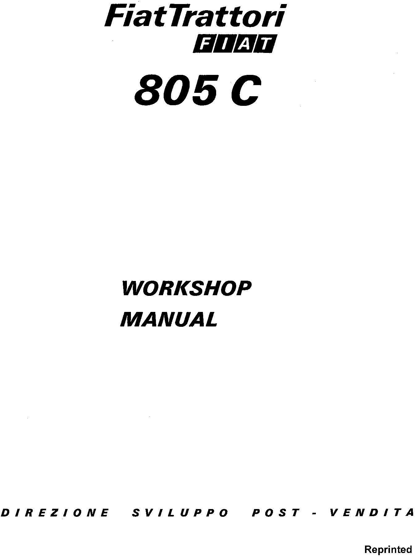 Fiat 805c Crawler Tractors Workshop Service Manual Deere