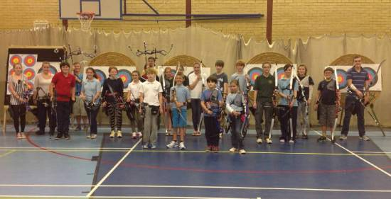 Most of our County Junior Development Squad. Almost 60% female, which is surprising as there is only just over one third female membership of Archery GB!