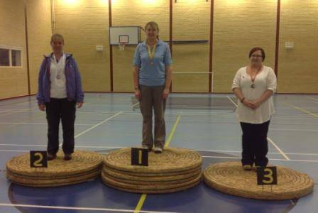 Top 3 positions in the Ladies Recurve, Christine Anderton (County Record), Caroline A'Bear & Nichola Cramb