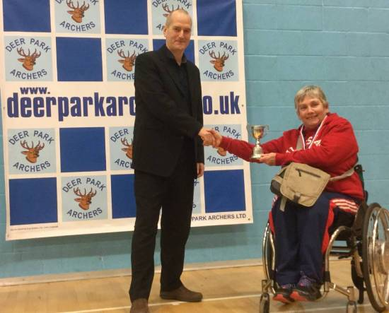 Roland Clark presents trophy to Jo Frith.