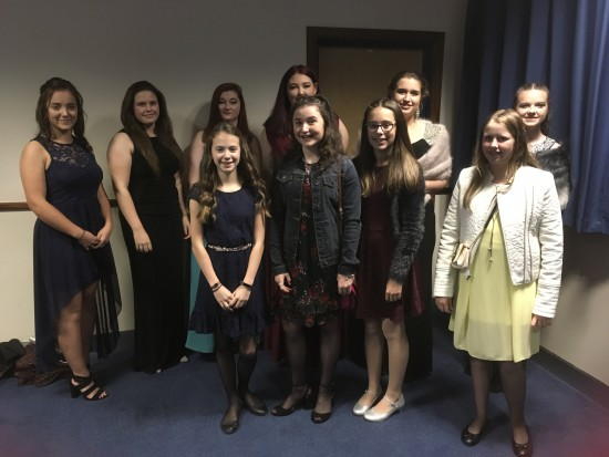 Junior Ladies Team Representatives at the Awards Dinner.