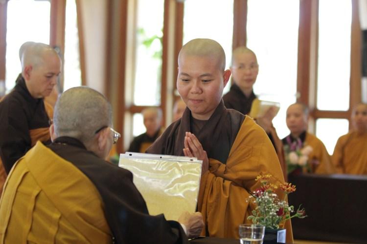 Sr. Thanh Đoan receiving Precepts at Great Precepts Transmission Ceremony 2021