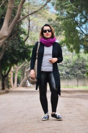 Leather Pants+Stripes+Scarf