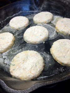 Adding Biscuits to Cast Iron Skillet