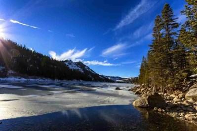 Print of Frozen Echo Lake at Sunset Photo