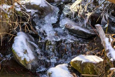 Print of a Stream Surrounded by Ice near Reno
