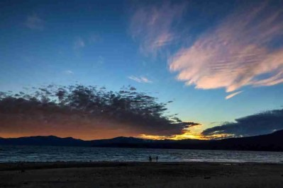 MED_1114_7293 Print of Sunset Behind Mountains at Tahoe Photo
