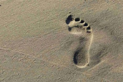 Print of a Footprint in the Sand at Huntington Beach California Photo
