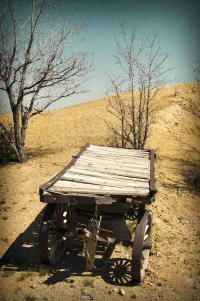 Print of an Old Worn Wooden Cart