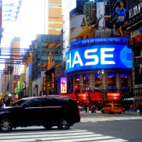 Times Square in neon blue