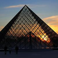 Silhouettes of the glass pyramids