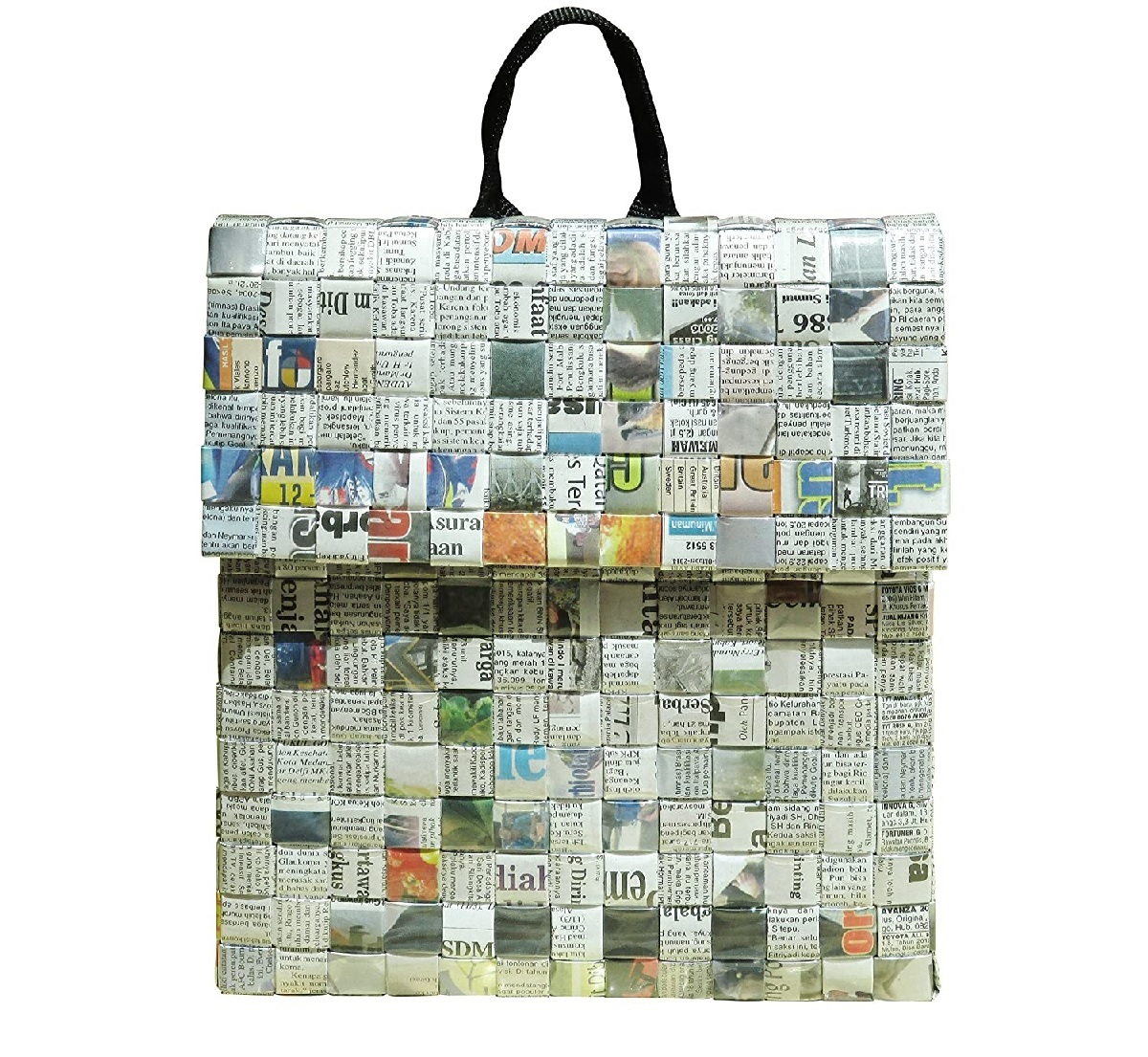 Upcycled handbag from newspaper