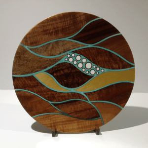 Currents Platter - koa, mango, yellowheart & bamboo with translucent details and koa stand