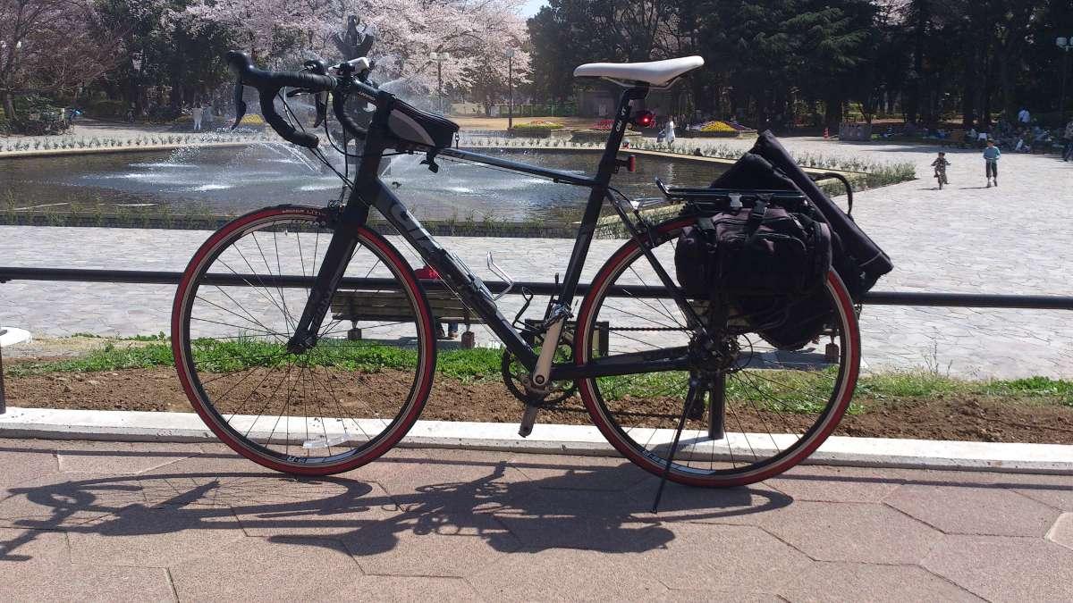 ロードバイクにリアキャリアで自転車通勤仕様ノートPC対応