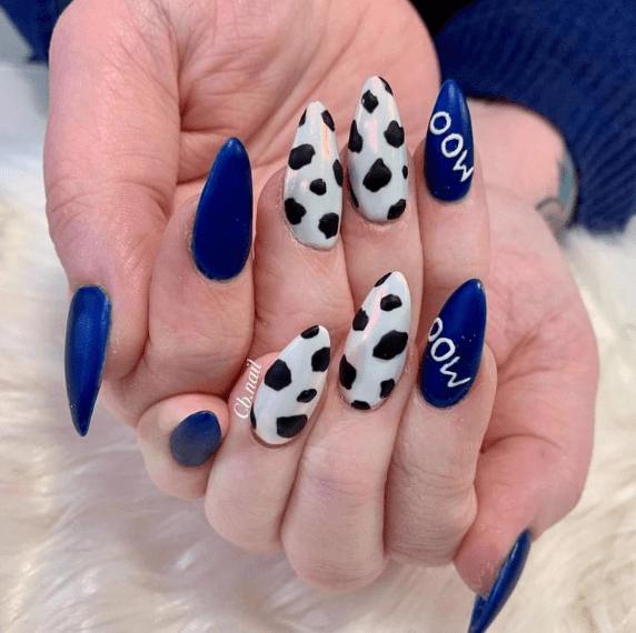 коровий принт на ногтях