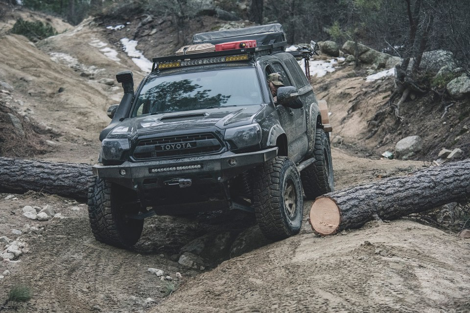 Rotiform SIX-OR defconbrix on some adventure toyota tacoma total chaos ride fox