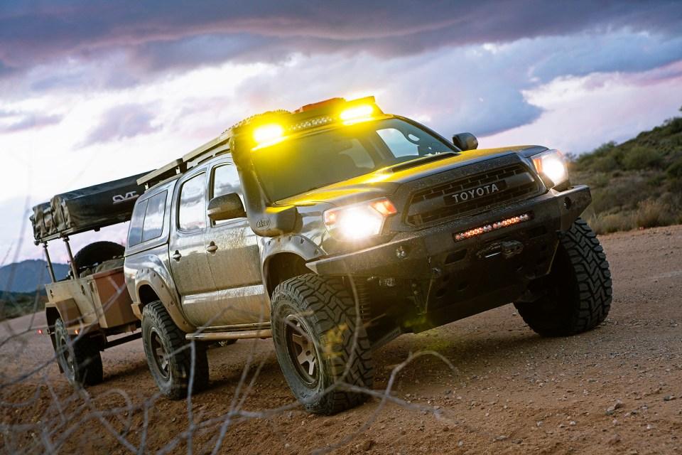Rotiform SIX-OR defconbrix on some adventure toyota tacoma xventure offroad trailer baja designs toyo tires