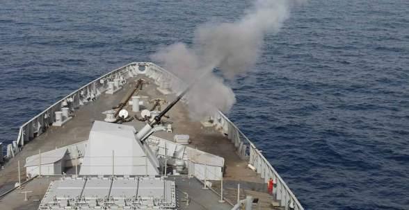 76 mm gun firing