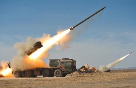 BM-30 firing 300 mm rockets