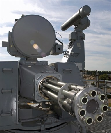 A Goalkeeper CIWS with it's 30 mm Gatling gun and integrated radars