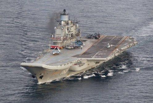 Admiral Kuznetsov with Su-33K and MiG-29K on deck