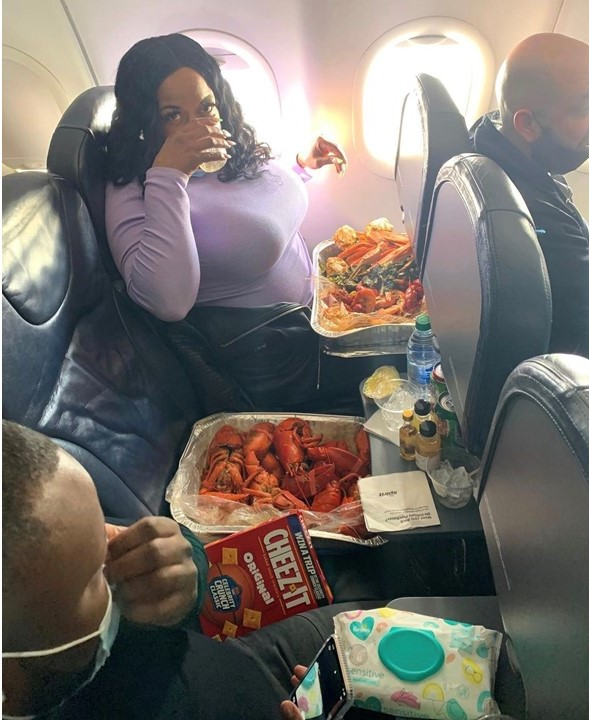 NY mother, son shocked Black Twitter called them 'ghetto' for eating crawfish bucket on plane