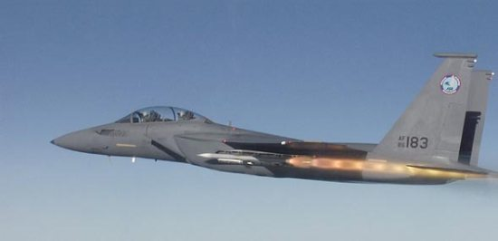 A flight demonstrator of the Boeing F-15SE Launches a Sidewinder AIM-9X from the conformal internal weapon bay. Photo: Boeing