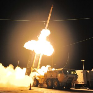 The U.S. Army Terminal High Altitude Area Defense (THAAD) missile system performed a successful intercept October 5, 2011, scoring simultaneous kills of two targets. Photo: Lockheed Martin