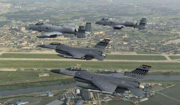 A10, F16 over Osan airbase, South Korea