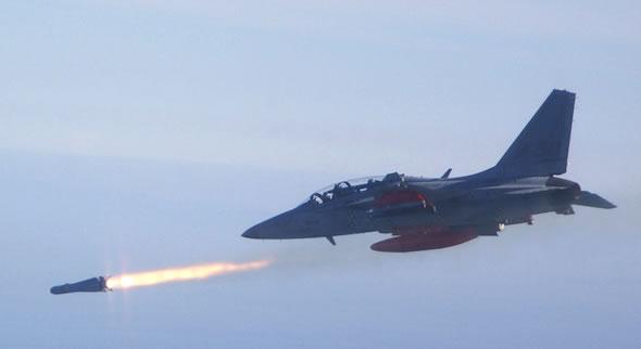 TA-50 launches an AGM-56 Maverick missile