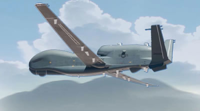 After the BACN payloads have been integrated on the Block 20 Global Hawks, the aircraft will be designated as USAF EQ-4B unmanned systems. Concept illustration: Northrop Grumman