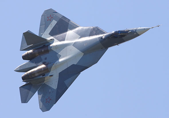 85 percent of the PAK-FA skin are covered with low-reflective nano-particle coating reducing the plane's visibility. Photo: Sukhoi