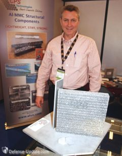 CPL displayed several armor modules made of aluminum-ceramic metal matrix composites. The large block shows the inner composition of a blast mitigating structural plate that can be used as for mine and IED blast belly protection. it contains hollow shperes of various sizes that absorb the shockwave as it passes through the complex structure, reducing the load levels transferred from the structure to the inner floor. An armor plate made of ceramic tiles of various sizes and shapes encapsulated with aluminum layers to form a hermetic package.
