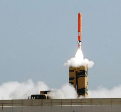 Babur HATF-VII cruise missile launched from a multi-tube missile launcher vehicle (MLV). Photo: ISPR
