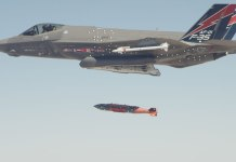 An F-35A completed the first in-flight weapons release of a 2,000 pound GBU-31 BLU-109 Joint Direct Attack Munition (JDAM) over the China Lake test range yesterday, October 16, 2012. Photo: Lockheed Martin