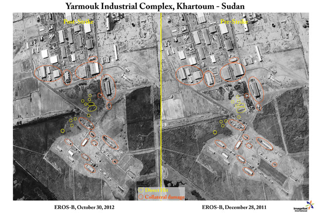EROS Satellite images of the Yarmouk ammunition plant in Khartum, Sudan, before and after the pre-dawn attack October 24, 2012. Photos: Imagesat