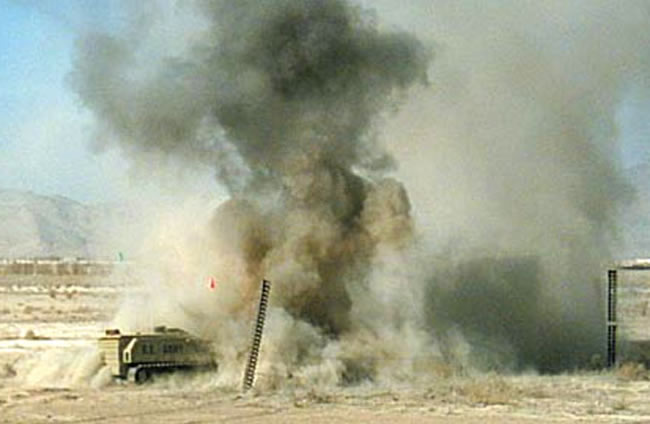 M160 MV4 robot negotiating a minefield in Afghanistan