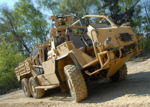 Supacat HMT Extenda 6x6 equipped with remote weapon station and pintle mounted 7.62mm machine gun.