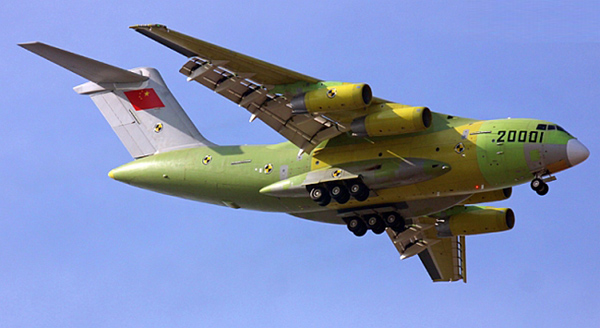 The Y-20 preparing to land on its maiden flight.