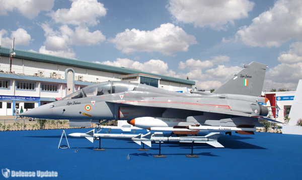 Tejas LCA shown with Derby and Python 5 missiles