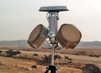 This RPS-40 C-RAM radar covers a 180 degree sector with 90 degree in elevation. When the panels are slanted 45 degrees, a system integrating four radar modules provides full hemispheric coverage, effectively spotting mortar and rocket attacks as well as direct fire threats. Photo: RADA